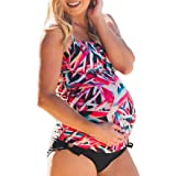 43729c1af Cinnamou Traje de baño Mujer Maternidad Premamá para Mujer Rayado Deportes Tankini  Bañador de Dos Piezas…