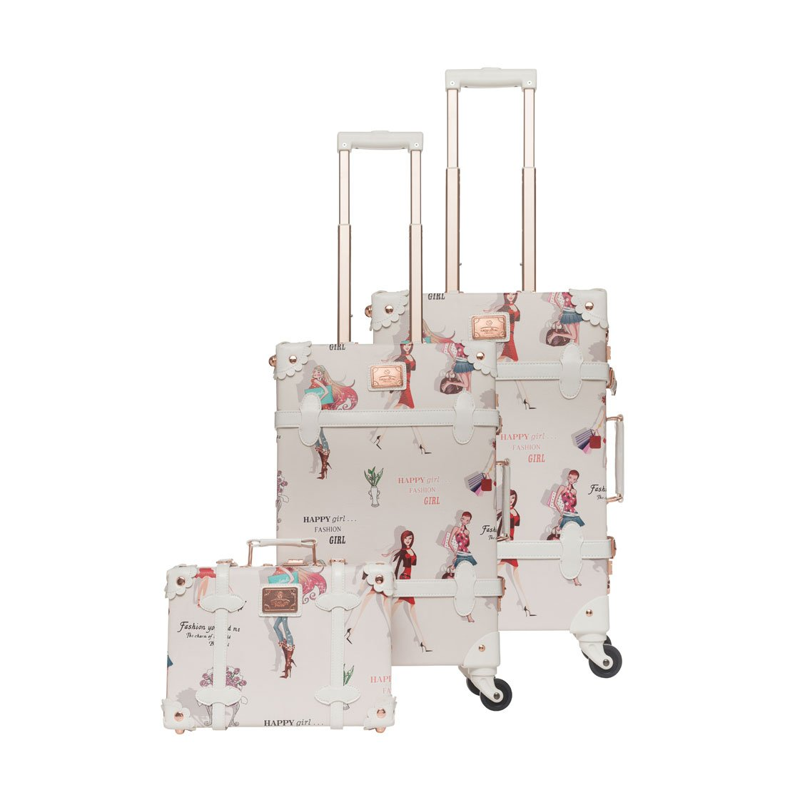 UNIWALKER 13'' 20'' 26'' Women Floral Pu Leather 3 Pieces Travel Luggage Set (Girl)