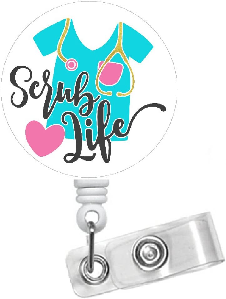 Amazon Com Scrub Life Badge Holder 1 5 Button With Retractable String Extended To 24 Office Products