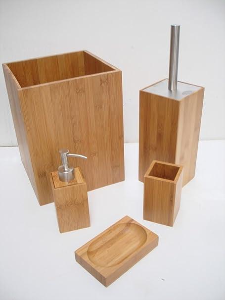 5pc bamboo bathroom set waste paper bin soap dish dispenser toilet brush holder