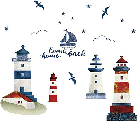 Nautical Boat Seagull Lighthouse Sea Ocean Home Wall Sticker Decals Decor MP