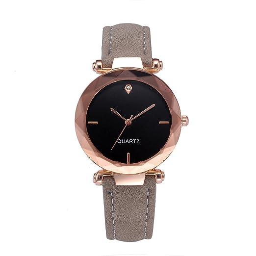 JiaMeng Reloj Analógico Automático de Pulsera de Cuarzo analógico de Lujo de Cuero de Las Mujeres de Moda Casual Reloj(Gris): Amazon.es: Ropa y accesorios