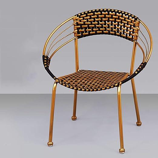 LZPQ Muebles de patio Sillas de mimbre tejidas de PE, apilables, modernas y cómodas sillas de jardín con respaldos en la piscina de césped: Amazon.es: Hogar