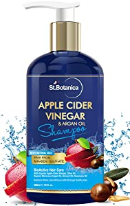 StBotanica Apple Cider Vinegar & Argan Hair Shampoo - 300ml (10 fl.oz) - No Sls/Sulfate, Paraben or Silicon - Goodness of Apple Cider with Argan Oil to Strengthen Hair, Nourish & Add Shine