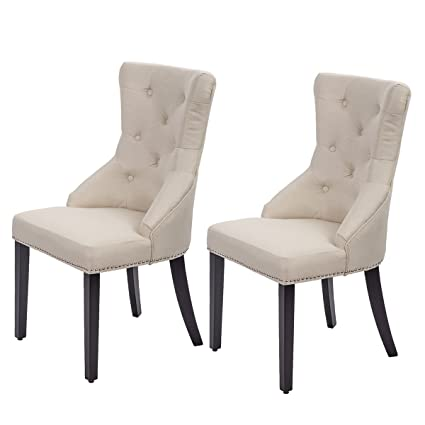 Perfect Dining Chairs Fabric Dining Chairs Dining Room Chair With Solid Wood Legs  Set Of 2