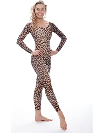 c7c55b2a69af1 Katz Dancewear KDC017 Girls ladies Leopard, Zebra Or Tiger Animal Print  Long Sleeve Dance Catsuit