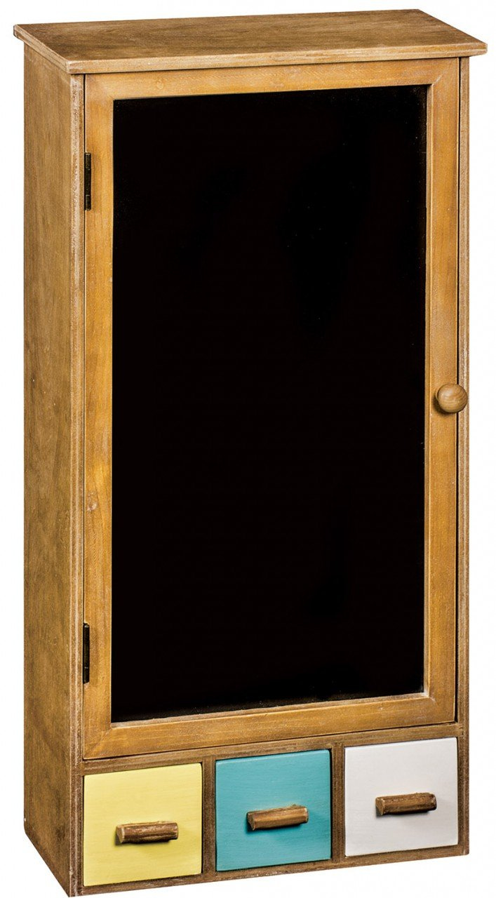 Rustic Wooden Wall Cabinet with Chalkboard Door and Drawers PDG