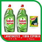 Salvo Salvo Limón Lavatrastes Líquido Concentrado 1.4lts, 2.8lts En Total + Esponja, Pack of 1