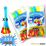 333 Water Balloons Quick fill, Self Sealing, Fill in 60 seconds, 9 bunches, Latex Water Bomb Balloons Fight Games - Summer Splash Fun for Kids & Adults by Inox