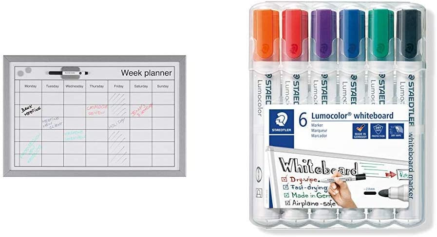 Pack of 6 Multicolor Bi-Office MM03000839 Dry Wipe Weekly Planning Board with Pen /&STAEDTLER 351WP6 Lumocolour Whiteboard Marker with Bullet Tip
