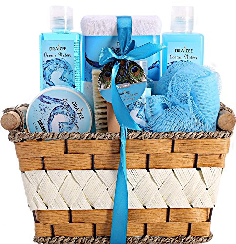 "Mother's Day Gift Spa Basket with Refreshing ""Ocean Bliss"" Fragrance by Draizee – Luxury Bath & Body Set Includes 100% Natural Cream's Lotion's & Much More! – #1 Best Gift Idea for Moms (For Her Gift Ideas $25)"