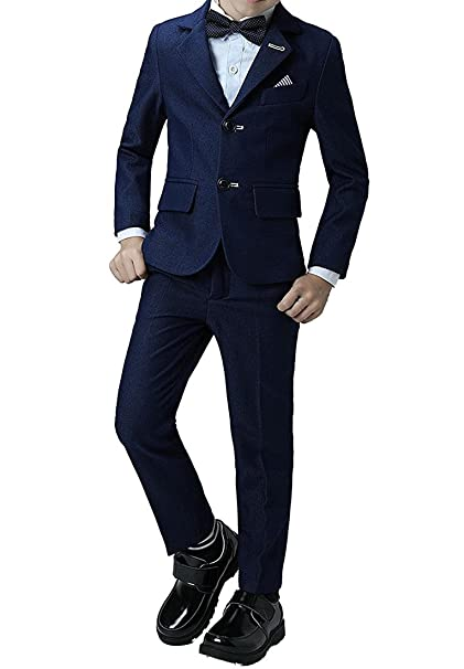 Amazon.com: 2 Piece Formal Navy Blue Boys Suits Set Silm Fit ...