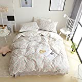 Jane yre Floral Girls Duvet Cover Set Twin 100% Cotton Vintage Flower Kids Bedding Sets Garden,Love Gifts for Hypoallergenic Plant Bedding Comforter Cover Adults Cover Bedding Sets 3 Pieces