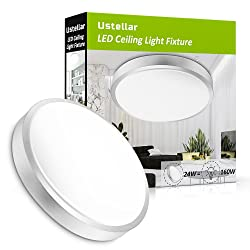 Ustellar 24W LED Ceiling Lights,180W Incandescent Bulbs Equivalent, 2000lm 14in LED Flush Mount Ceiling Lighting, LED Light Fixtures Ceiling, 5000K Daylight White for Living Room, Hallway, Office