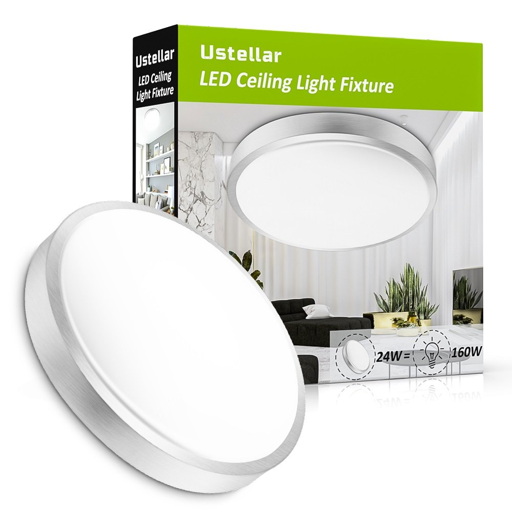 Ustellar 24W LED Ceiling Lights,180W Incandescent Bulbs Equivalent, 2000lm 14in LED Flush Mount Ceiling Lighting, LED Light Fixtures Ceiling, 5000K Daylight White for Living Room, Hallway, Office by Ustellar