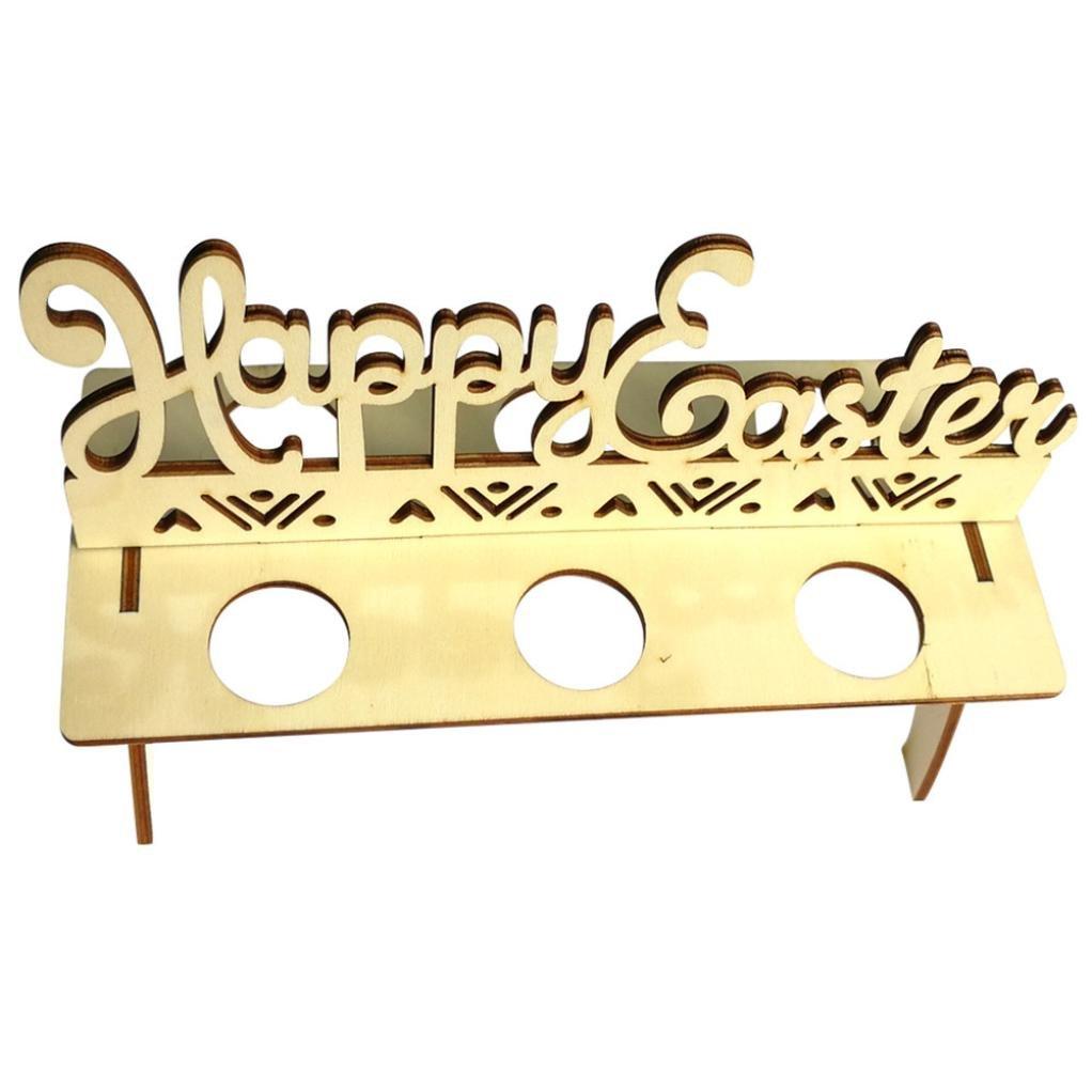 Easter Egg Holder Tray, SUKEQ Creative Wooden Easter Egg Shelves Bunny Hen Pattern Carry Eggs Storage for Kids (A)