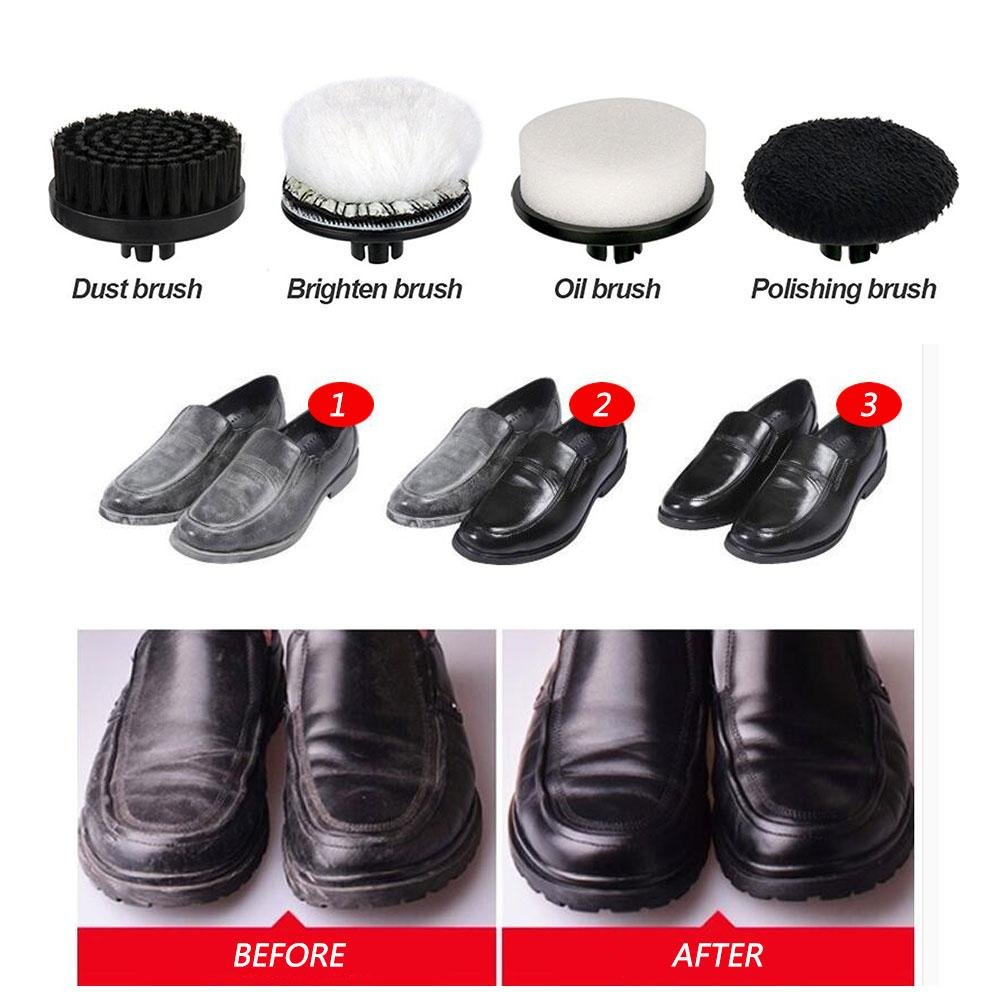Electric Shoe Polish Kit Electric Shoe Polisher for Men Women,Shoes Scrubber Portable Handheld Shoes Cleaning Brush Kit for Leather Shoes by Aolvo (Image #6)