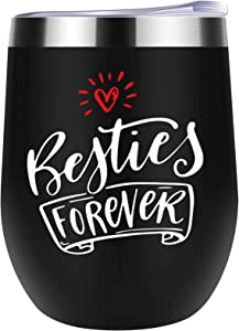 Best Friend Gift Besties Forever Wine Tumbler Best Gift Ideas for Best Friends Female, Bestfriend Woman, Sister - Jackmen 12 oz Wine Tumbler