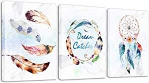 Feather Canvas Wall Art Minimalist White Modern Watercolor Feather Prints Nordic Dream Catcher Pictures for Living Room Bedroom Home Decor 12 x 16 Inches 3 Pieces