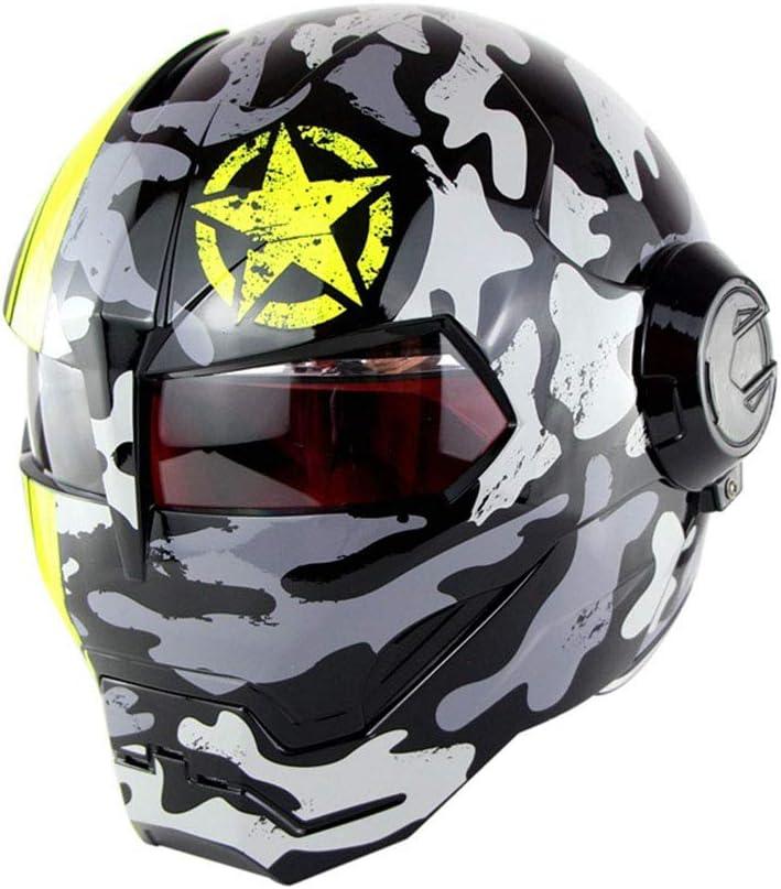 D. O. T Certificado Moto Casco Motocross Cara Completa Casco Moto Flip Máscara Abierta Casco, Hombre De Hierro Transformadores-M, L, XL