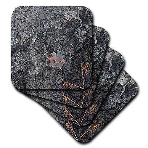 3dRose Sandy Mertens Hawaii Travel Designs - Hawaii Volcano National Park View of Volcanic Rock with Lava - set of 8 Coasters - Soft (cst_232754_2)