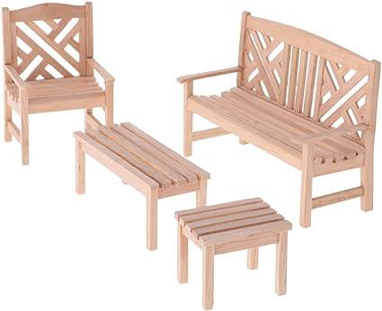 1:12 Dollhouse Miniature DIY Furniture Outdoor Double Chair Set Garden Decor
