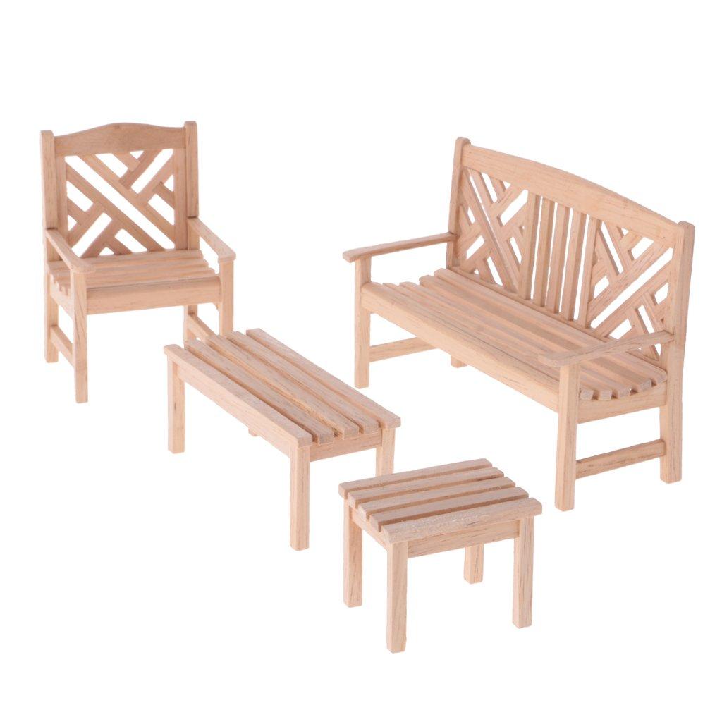 MagiDeal 4 Stück / Set 1:12 Puppenhaus Miniatur Holz Gartenmöbel Set ...