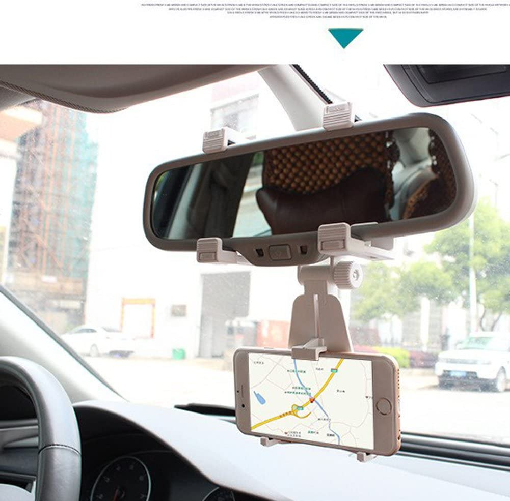 GPS// PDA// MP3// MP4 Universal Smartphone Holders Car Rear View Mirror Mount Holder Stand Truck Auto Bracket Cradle For iPhone 7 Note 4//3//2 6 7 plus 6s plus 5S Samsung Galaxy S6//S5//S4//S3 White
