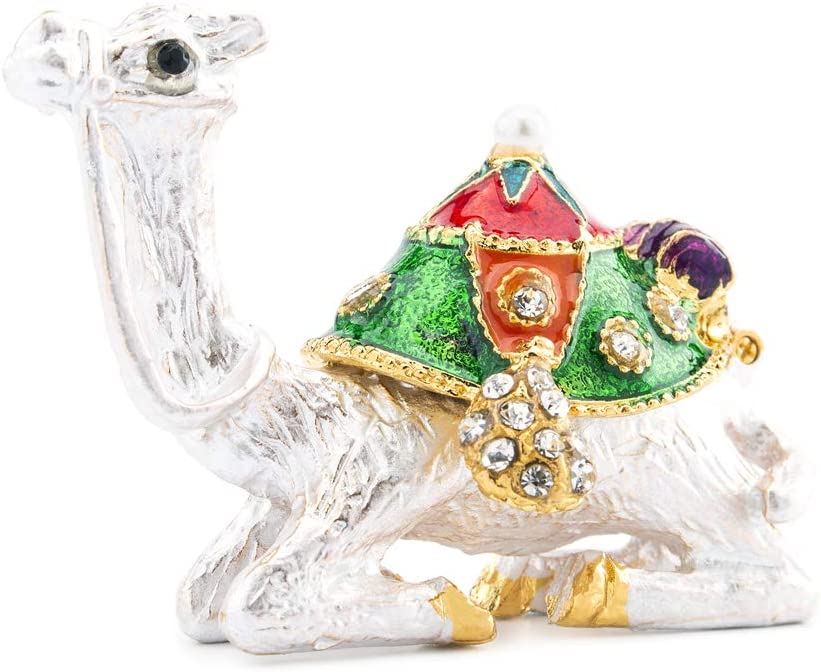 YU FENG Kneeling Camel Decor Figurines Collectible,Hinged Crystal Camel Animal Trinket Jewelry Box Hand-Painted Pattern