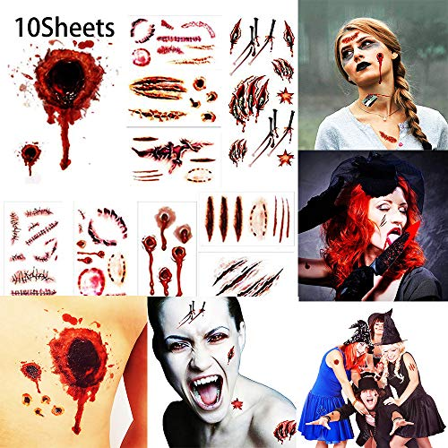 Halloween Costume Temporary Tattoos Stickers Vampire Zombie Temporary Tattoo Fake Wound Stickers fit Halloween Cosplay Party, 10 Sheets