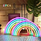 AIZESI 2PCS Rainbow Neon Light Sign,Neon Table Lamps,Marquee Battery Or USB Operated Table Led Ligths Wall Decoration for Girls Bedroom,Living Room,ChristmasParty as Kids Gift (Rainbow)