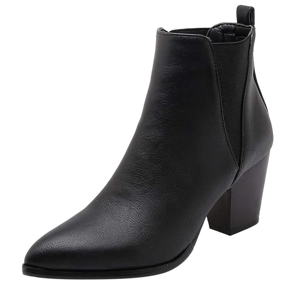Women Ankle Boots Wide Width Slip On Mid Heel Chelsea Booties Wedding Party Chunky High Heel Pump Dress Shoes (US:6(37), Black)