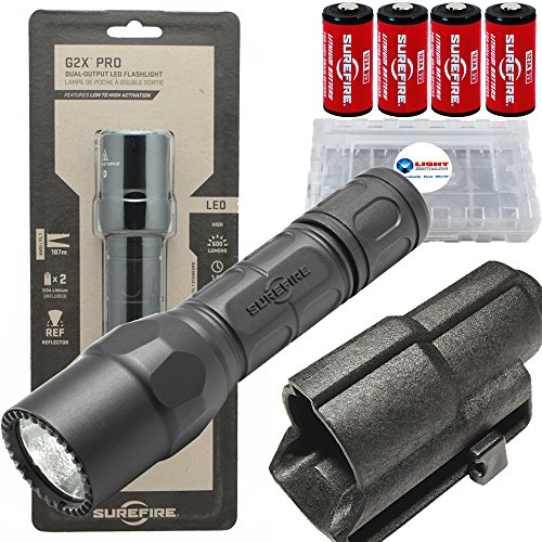 - Surefire G2X Pro 600 Lumen Dual-Outputs LED Flashlight Bundle with V70 Holster, 2 Extra CR123A Batteries and Lightjunction Battery Case (Black)