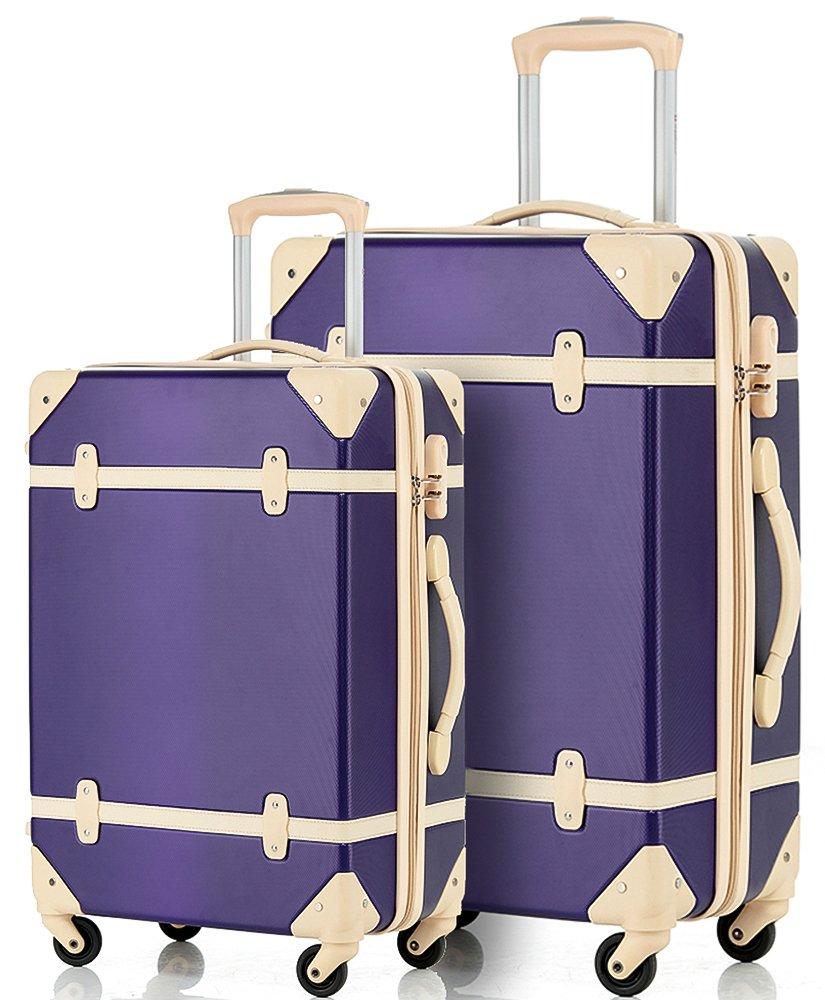 Merax Travelhouse 2 Piece ABS Luggage Set Vintage Suitcase (Violet&Ivory.) by Merax