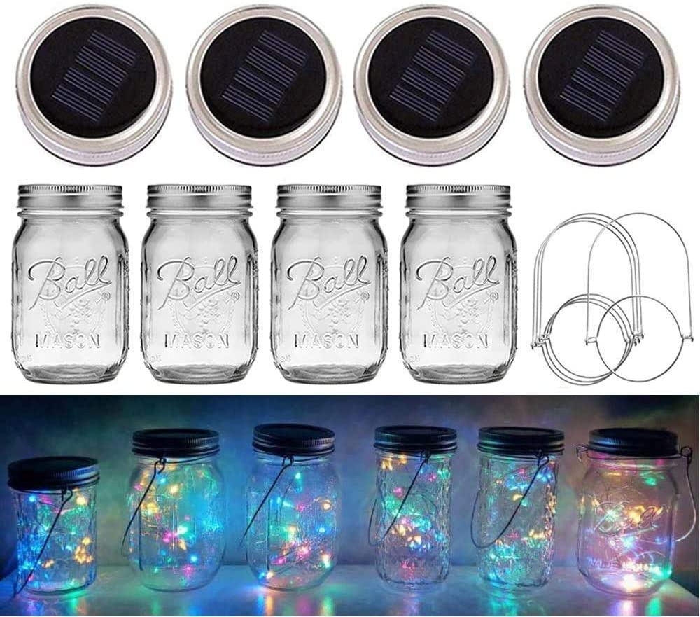 Solar Mason Jar Lights, 4 Pack 20 LED Waterproof Fairy Firefly Jar Lids String Lights (with Jars and Hangers), Patio Yard Garden Wedding Easter Decoration - Multicolor