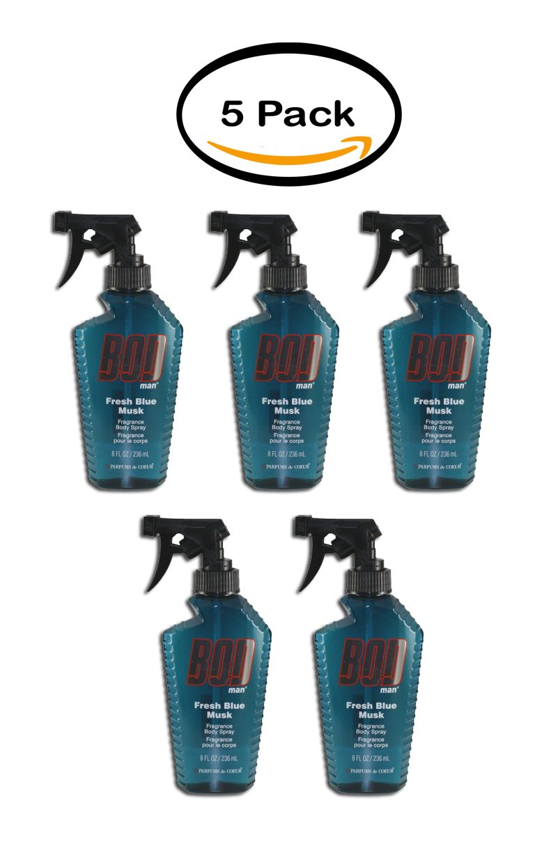 PACK OF 5 - Bod Man Fresh Blue Musk Fragrance Body Spray 8.0 Oz / 236 Ml