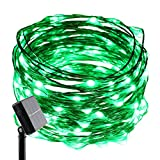 ER CHEN(TM) Solar Powered 33ft Copper Wire string light,100led Fairy Starry Lights with Solar Panel for Outdoor Christmas Tree Thanksgiving Decoration Festival Wedding Party Garden Landscape(Green)
