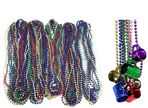 72 Necklace 33 inch 07mm Metallic Multi Colors Mardi Gras Beads Beaded Necklace with Beer Cups]()