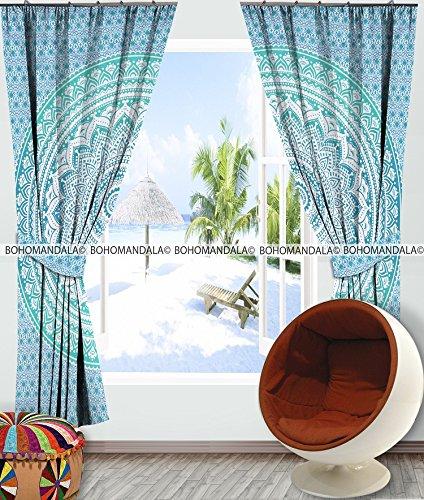 Large Ombre Mandala Window Curtain Indian Drape Handmade Curtain Panel By Bohomandala