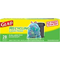 Glad Recycling Large Drawstring Blue Trash Bags, 30 gallon, 28ct - Packaging May Vary