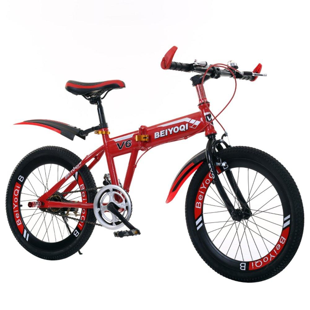 子供用折りたたみ自転車, 学生折りたたみ自転車 子供の折りたたみ自転車 マウンテン バイク 少年少女 折りたたみ自転車 B07DK9CMMT 20inch|赤 赤 20inch