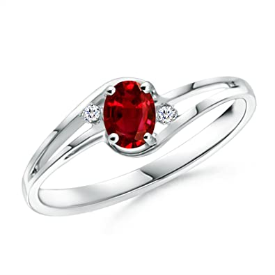 Angara Prong Set Solitaire Oval Natural Ruby Split Shank Ring in Platinum