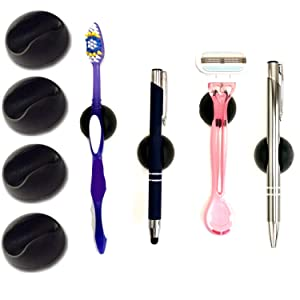 Adhesive Clips for Pens, 4 Pc Set, Markers, Toothbrushes, Makeup Brushes | Stick On Pen Holder to Mount on Mirror, Dashboard, Fridge, Locker, Whiteboard, Clipboard, Hard Hat, Etc | Office Organizer