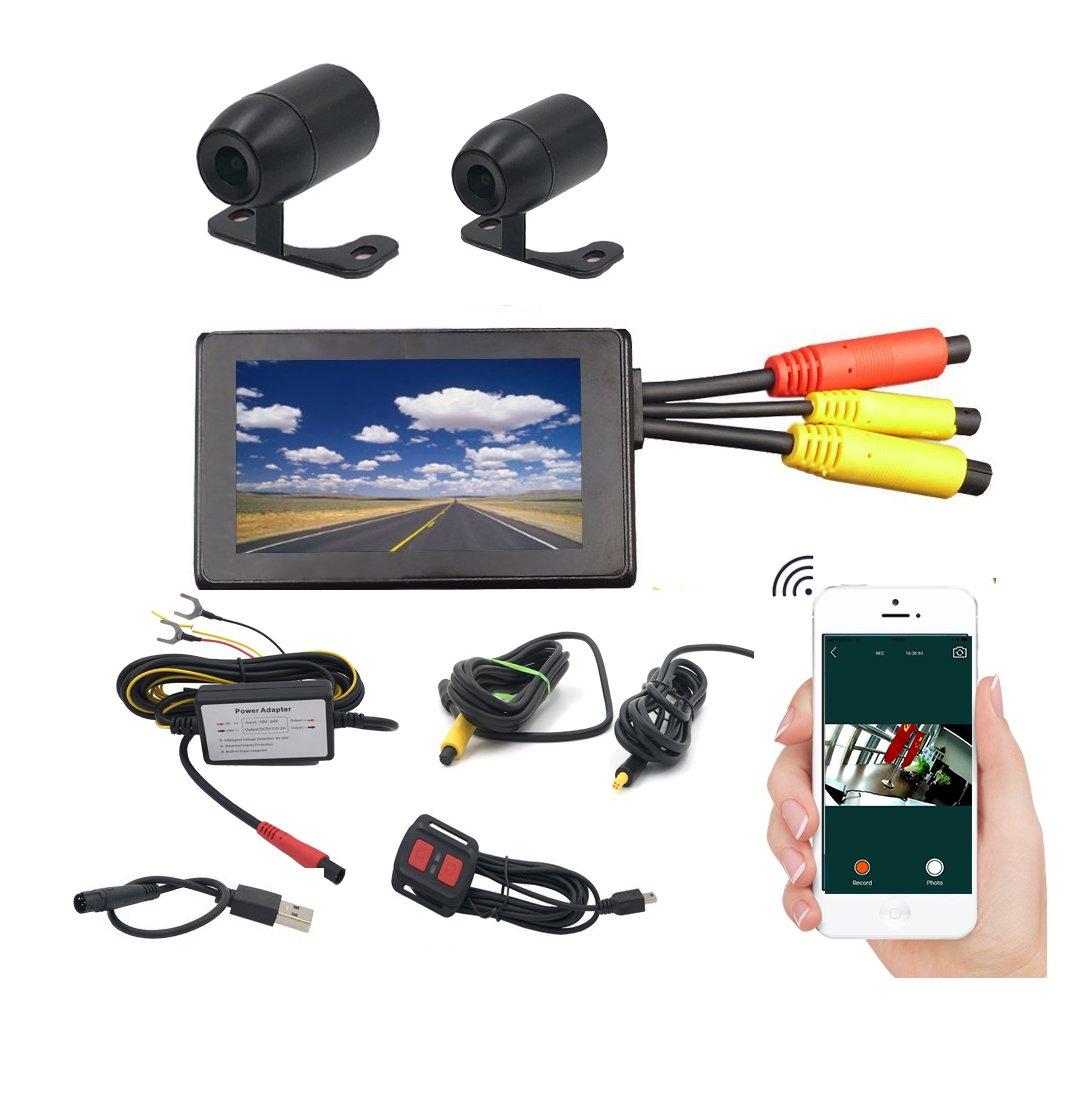 Wifiビデオレコーダーデュアルレンズ1080pバイクオートバイポータブルDVR 720p背面カメラ3インチLCD機能サポート腕時計AndroidとiOS Cellphoneプレビュー B07BFWRSQ3