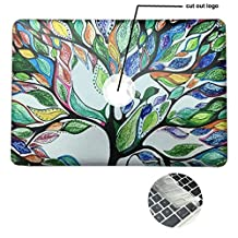 Rinbers 3D Print Ultra Slim Soft-touch Rubberized Hard Shell Case Snap-On Top&Bottom Hard Cover Case for MacBook 12 inch with Retina Display (Model: A1534) - Tree of Life
