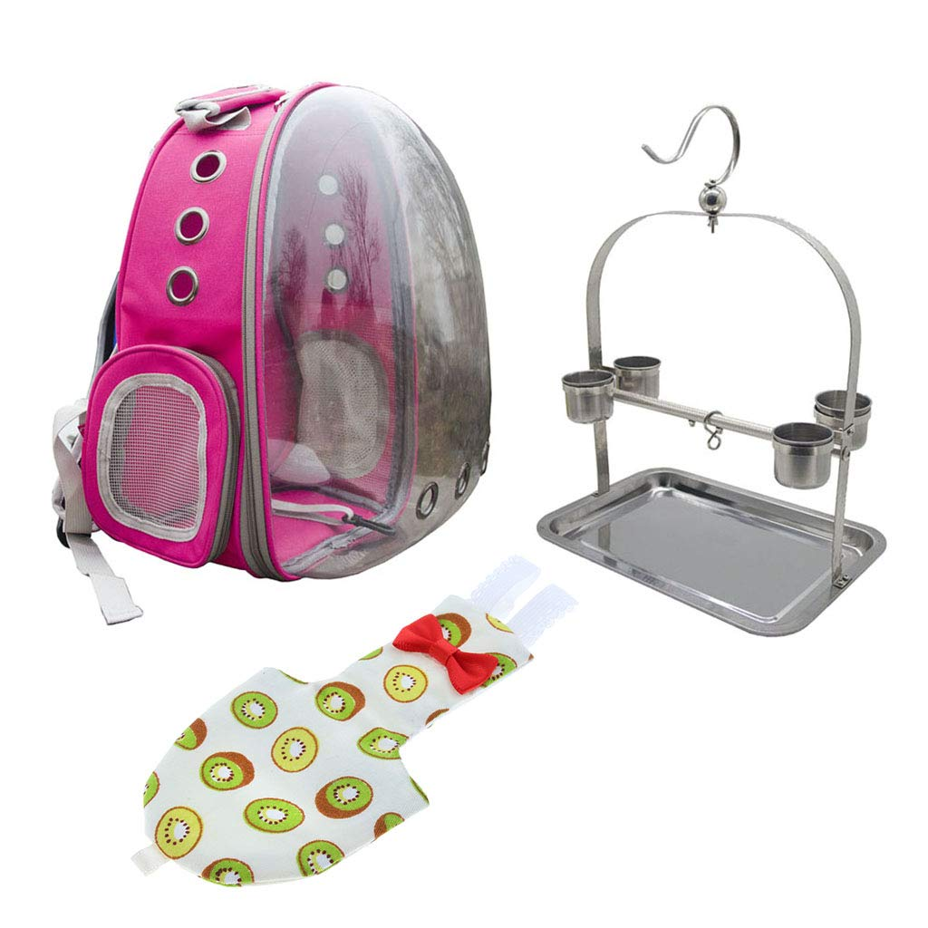 Baoblaze Transparent Pet Breathable Pet Parred Travel Space Capsule Backpack Carrier with Kiwi Pattern Bird Fashion Nappy Diaper (pink Red)