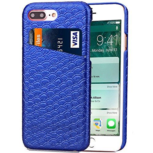 iPhone 7 Plus Hülle, Cozy Hut ® Design Genuine Leather Series Hülle   Apple iPhone 7 Plus   [Mermaid Fischschuppenmuster] Elastisch [marineblau ] Ultimative Schutz vor Stürzen und Stößen - [Skinning-K