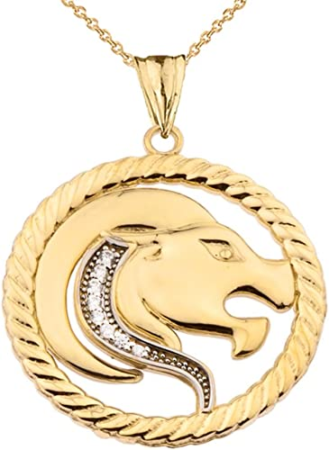 Solid 14k Yellow Gold Round Leo Zodiac Symbol Cut-Out Lion Pendant with Cuban Chain Necklace