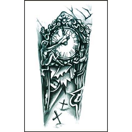 CLLCR Tatuajes Temporales - Reloj Flor Brazo/Pegatina Impermeable de Simulación Ambiental Tatuaje de Moda