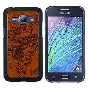 TECHCASE---Cubierta de la caja de protección para la piel dura ** Samsung Galaxy J1 J100 ** --Corrientes Mapa Geografía Océano Tierra Planeta Arte